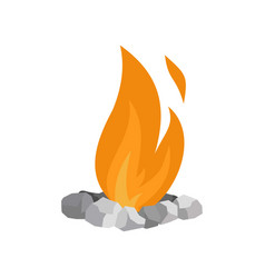 fire in stones icon flat style vector image