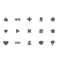 flat dark icons on white background vector image