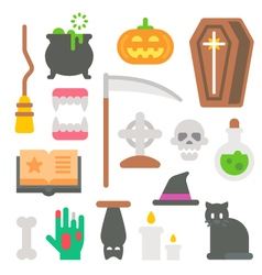 Flat design Halloween items set vector