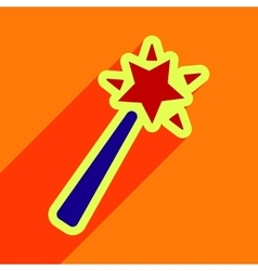 Flat with shadow Icon magic wand on a colored vector
