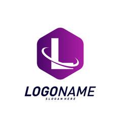 Font with planet logo design concepts letter l vector