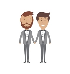 Gay male couple wedding card vector