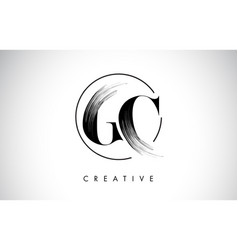 gc brush stroke letter logo design black paint vector image
