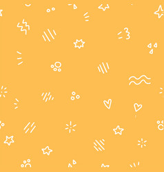 geometric seamless pattern with white doodle vector image