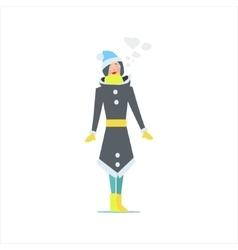 Girl In Winter Long Coat vector
