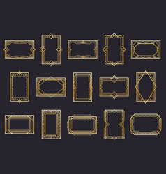 golden art deco line frames vector image