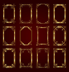 Golden calligraphic ornamental frames vector