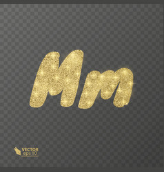 golden shiny letter m on a transparent background vector image