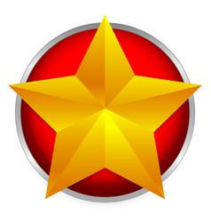 Golden star emblem - beveled gold star on bright vector