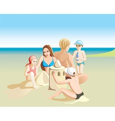 Graphic of a Family on the Beach vector