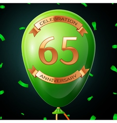 Green balloon with golden inscription sixty five vector image