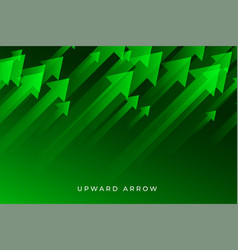 Green business growth arrow showing upward trend vector