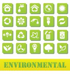 Green icons environmental plate vector