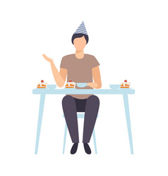 guy sitting alone at festive table and drinking vector image