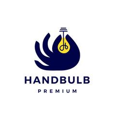 hand bulb creative idea logo icon vector image