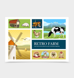 hand drawn retro farm composition vector image