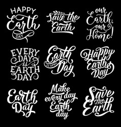 happy earth day save planet text greetings vector image