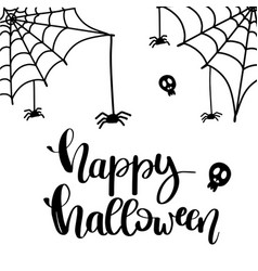 happy halloween text banner cute card design vector image