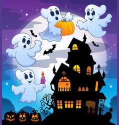 haunted house silhouette theme image 3 vector image