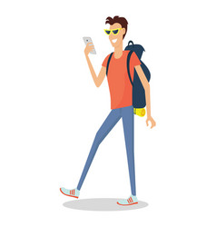 Hiker traveler flat design vector
