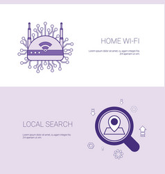 Home wifi and local search concept template web vector