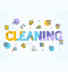Household and cleaning service concept paper art vector