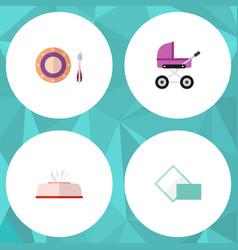 icon flat baby set of napkin box pram dish and vector image
