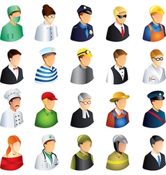 icons professions faces vector image