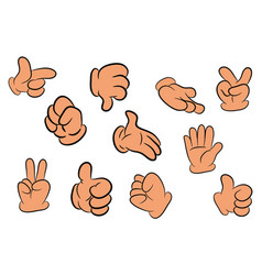 image of cartoon human gloves hand gesture set vector image