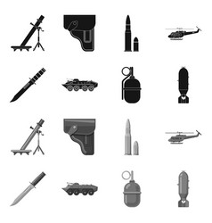 Isolated object weapon and gun sign set of vector