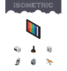 isometric appliance set of cloth iron vac vector image