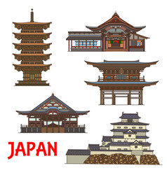 japanese temples and castle travel landmarks vector image