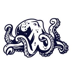 kraken octopus cuttle fish tentacles with suckers vector image