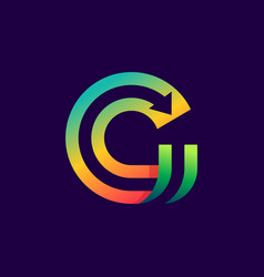 letter g logo with arrow inside vector image