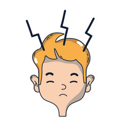 Man with headache sickness to stress problem vector