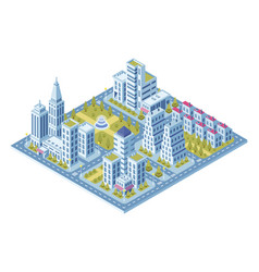 modern city buildings police station road vector image