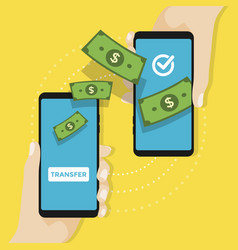money transfer on mobile payments using smartphone vector image