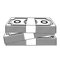 Monochrome contour with stacked banknote vector