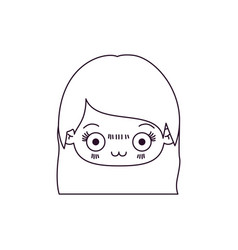 Monochrome silhouette of kawaii head of cute vector