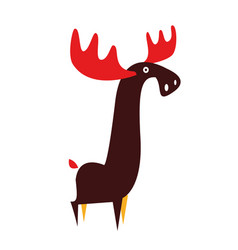 Moose animal flat on white vector