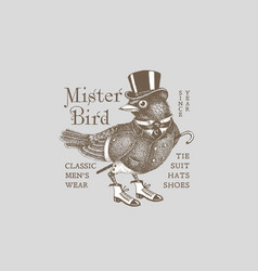Mr bird label vector
