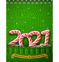 new year 2021 in shape candy stick in knitted vector image