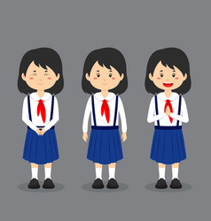 North korean school character with expression vector