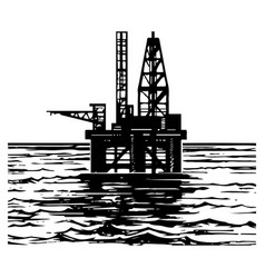oil platforms sketch vector image