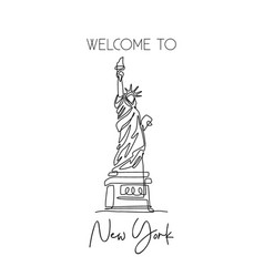one continuous line drawing to liberty statue vector image