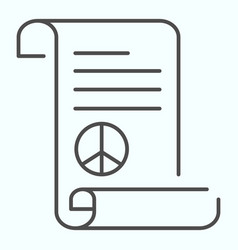 Peace treaty thin line icon document with peace vector
