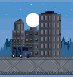 Pixelated urban videogame vector