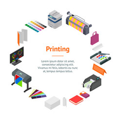 Printing signs 3d banner card circle isometric vector