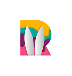 r letter rabbit paper art cutout logo download vector image
