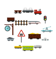railway set flat icons vector image